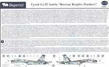 Begemot Decals 1/72 SUKHOI Su-27 FLANKER RUSSIAN KNIGHTS Aerobatic Team w/Masks