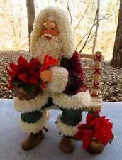 Possible Dreams Clothtique Festive Blooms Santa Christmas Poinsettia New in Box