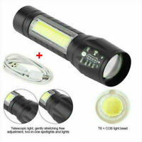 Portable T6 COB LED Tactical USB Rechargeable Zoomable Flashlight Torch Lamp ~~