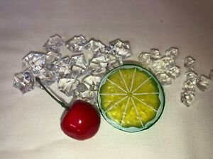 Faux Crushed Ice with Fruit Tumbler Topper Kit  CHERRY LIME Fake Food Kit 002