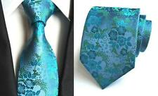 Blue and Green Flower Patterned Handmade 100% Silk Tie