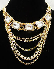 Brilliant New High End Gold Tone Crystal Statement Necklace by JTV #N52163GC