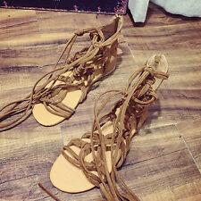 Women's Summer Knee High Lace Up Leg Wrap Roman Gladiator Flat Sandals Shoes