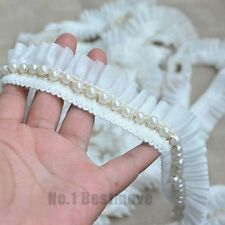 1yd White Vintage Pearl Beaded Lace Chiffon Trim Wedding Dress Sewing Craft  DIY