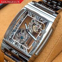 Mens Flywheel Stainless Steel Luxury Mechanical Watch Silver White PRESALE
