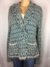 Belvedere Wool Blend,Blue/Taupe Multi,Fuzzy Soft Sweater Size XL RN# 59478 Italy