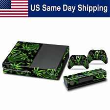 Skin Cover Protect Sticker for Xbox One Console & 2 Controller Decal Weeds Black