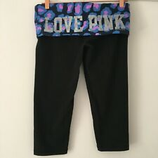 Love Pink victoria's Secret Noir Aluminium Crop Stretch Yoga Leggings M Medium 10 12