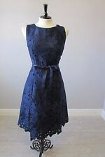 PHASE EIGHT FABIA LACE FIT AND FLARE DRESS - SIZE 14 - NAVY