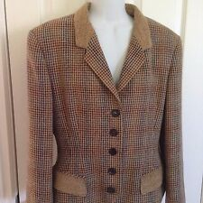 EUROPEAN TAILORED JACKET BY JOBIS, SIZE 12, HOUNDSTOOTH TAN/BROWN/BLUE, QUALITY!