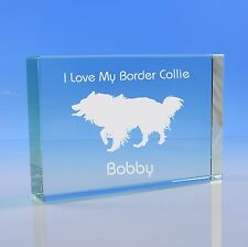 Border Collie Dog Lover Gift Personalised Hand Engraved Paperweight Gift