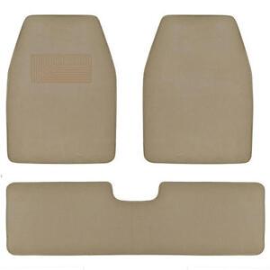Set of 3 Car Floor Mats - 2 Front 1 Rear Liner Medium Beige Carpet for Truck SUV