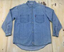 LEVIS - Vtg 90s Mens Light Blue Denim Jean Button-up Long Sleeve Shirt, LARGE