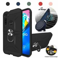 For Motorola Moto G8 Plus Case Metal Magnetic Ring Stand Armor Cover+Car Mount