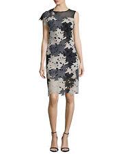 NWOT$416 Yoana Baraschi Ceres Illusion One-Sleeve Lace Dress, Black/Gray Multi 2