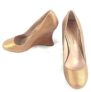 Colin Stuart Platform Women's Shoes Size 7 B Gold/Bronze Color