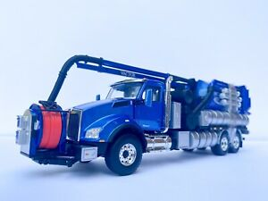 1:50 First Gear Blue Kenworth T880 Vactor Sewer Combo Cleaner Custom