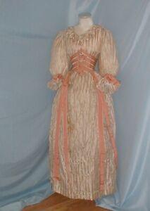 Antique Dress Victorian 1890's Gold Stripe Silk Evening Dress Ribbon Trim