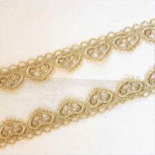 2 Yards Heart Gold Lace Trim Ribbon Wedding Dress Lace Fabric Sewing Diy Craft