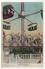 CONEY ISLAND PC Postcard NEW YORK CITY Amusement Park LUNA PARK Aerial Swing
