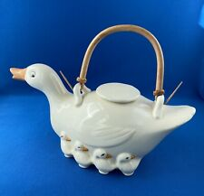 Rare Fitz & Floyd Vintage Teapot, Duck Goose with Babies, Perfect Condition