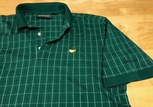 Augusta Masters Collection Polo Golf Shirt Green Check sz M Two-Ply Mercerized