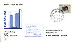 LUFTHANSA Erstflug TORONTO - DÜSSELDORF Canada Briefmarke Stamp 1983 1st flight