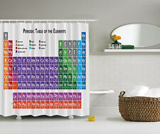 Chemistry Periodic Table Geek Educational Fabric Shower Curtain Digital