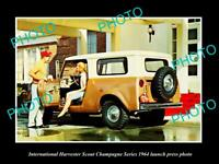 OLD POSTCARD SIZE PHOTO OF 1964 INTERNATIONAL HARVESTER SCOUT PRESS PHOTO