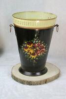 Antique French enamel floral decor umbrella stand holder