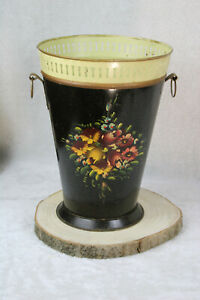 Antique French enamel floral decor umbrella stand holder