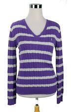 EUC LAUREN RALPH LAUREN Cotton Pull Over Sweater Purple Stripe Size Small LOGO