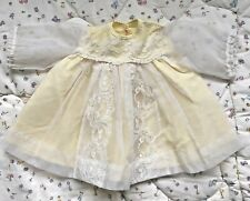 Vintage Yellow Baby Doll Dress Sheer Organza With White Lace Trim