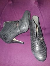 CLARKS PLUS LEATHER METALLIC BROWN SNAKE PRINT SHOES BOOTS SIZE 4.5 EU 37.5