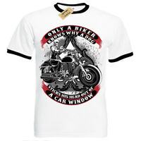 Only A Biker T-Shirt funny motorcycle motorbike Mens RInger