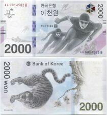 South Korea 2000 Won 2018 UNC PyeongChang Winter Olympics AA001....