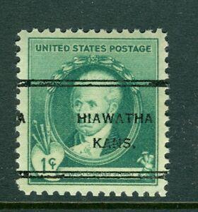 Hiawatha KS 247 precancel on 1 cent 1940 Stuart Famous American Artist