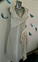 luxueuse robe ivoire viscose coton HIGH USE ex girbaud size 38 fr USA 27 NEUVE