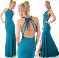 Abito lungo vestito donna spacco sirena turchese strass tulle schiena scoperta
