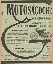 Y9689 MOTOSACOCHE - Pubblicità d'epoca - 1909 Old advertising