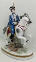 Blue hussar on horse Porcelain figurine Carl Thieme & Edme Samson marks [AH835]