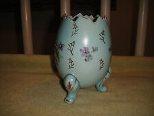 Vintage Ceramic Porcelain Egg W/Raised Purple Flowers-Open Footed Egg-Lovely