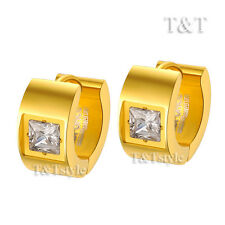 T&T Stainless Steel Thick Hoop Earrings Gold With Square CZ (EG60)
