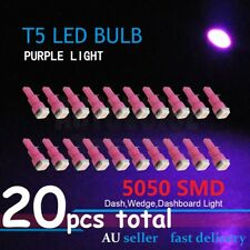 20pcs T5 5050 Purple Dash Wedge Speedo Gauge LED Wide Angle Pink Bright Light
