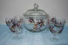Louche avec 6 verres, ongles verre, exclusivement design-NEUF-hochemail-décor, tiffany