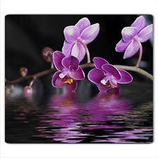Ceranfeldabdeckung Herdabdeckplatten Spritzschutz Glas Orchidee 60x52 cm