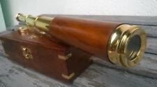 Telescope longue vue laiton et bois, 35cm,neuve dans son coffret bois