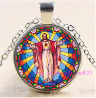 Necklace Christian Photo Tibet Silver Cabochon Glass Pendant Chain Necklace