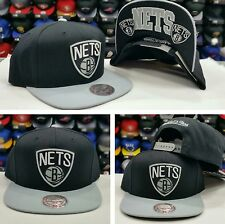 NEW NBA Mitchell and Ness Brooklyn Nets BLACK Gray Adjustable snapback