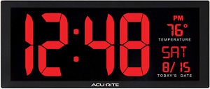 """AcuRite Large 14.5"""" Digital LED Oversized Wall Clock with Date, Temperature and"""